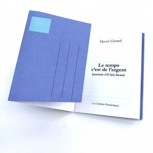 Nouvelle à poster de Hervé Giraud, Le temps c'est de l'argent, disponible chez les Éditions pneumatiques